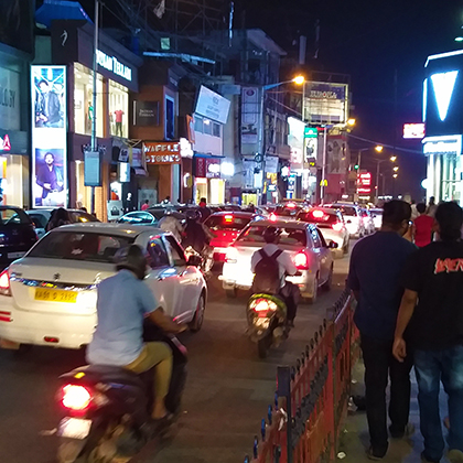 Indian traffic by night.