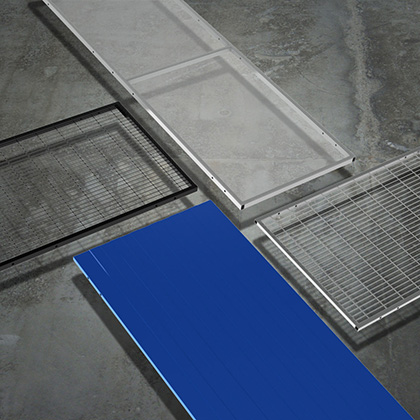 Machine guarding panels: PC panel, mesh panels and full steel panel.