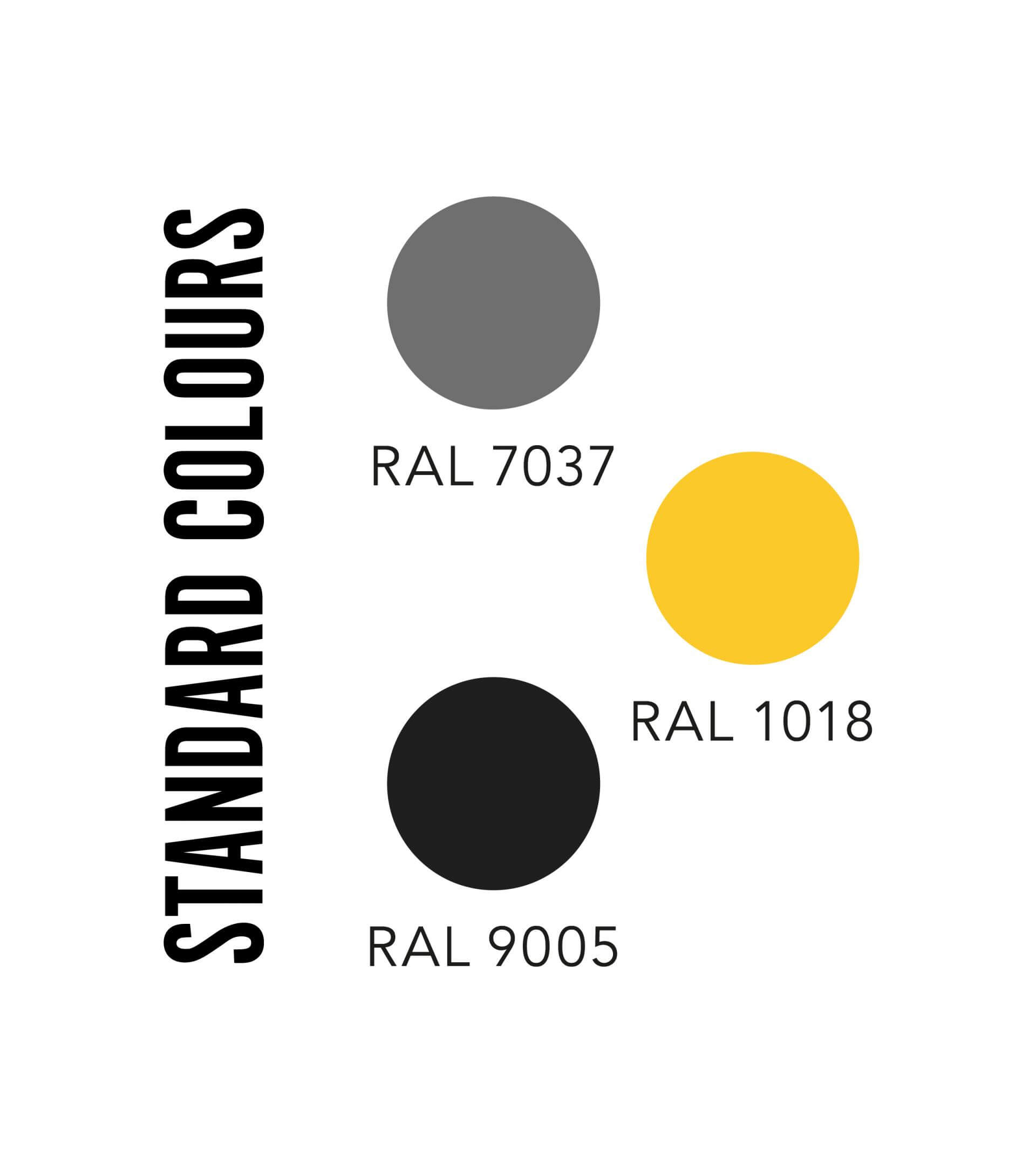 Standards colours; Grey, yellow and black.