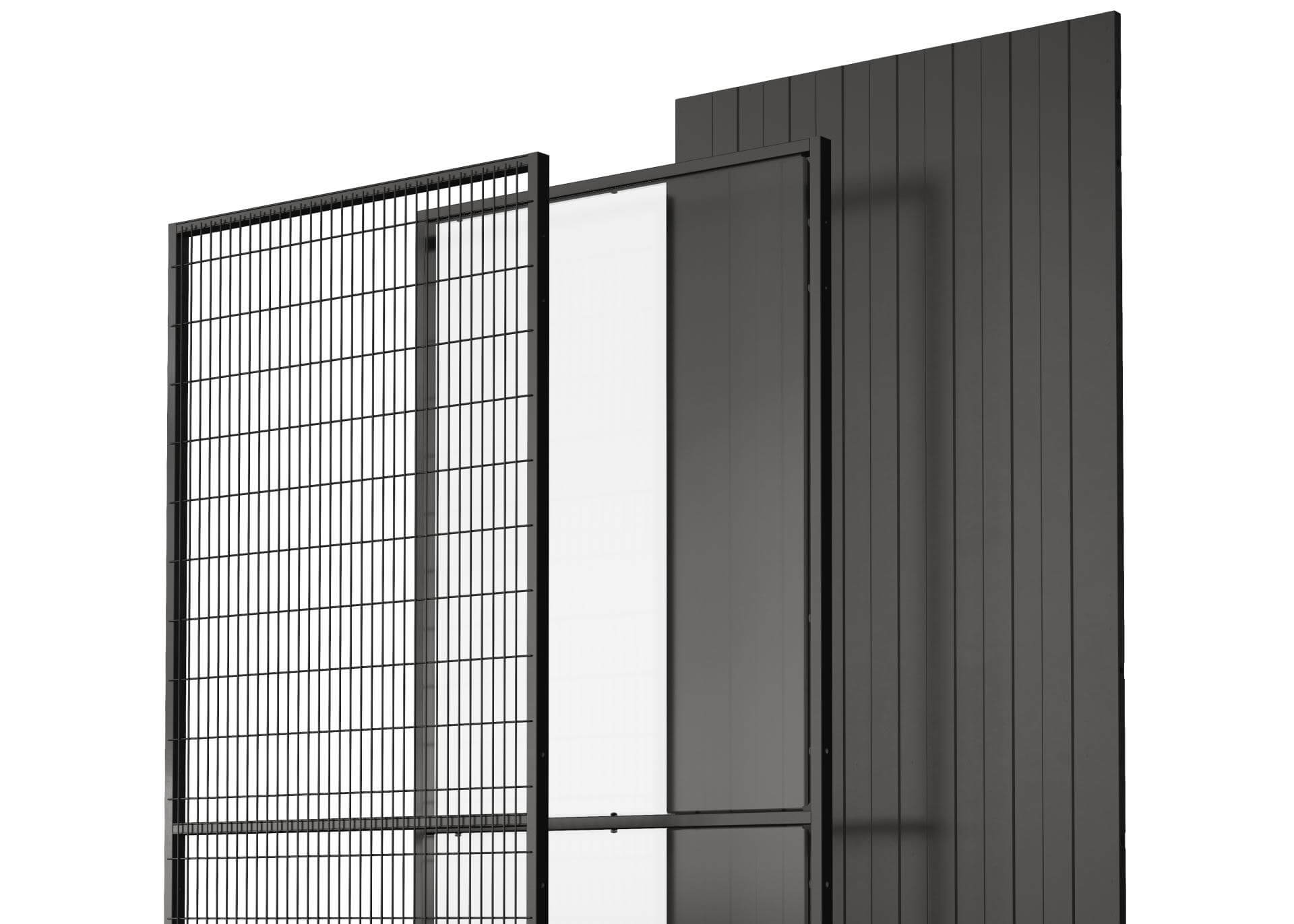 Panels in mesh, steel and polycarbonate (PC).