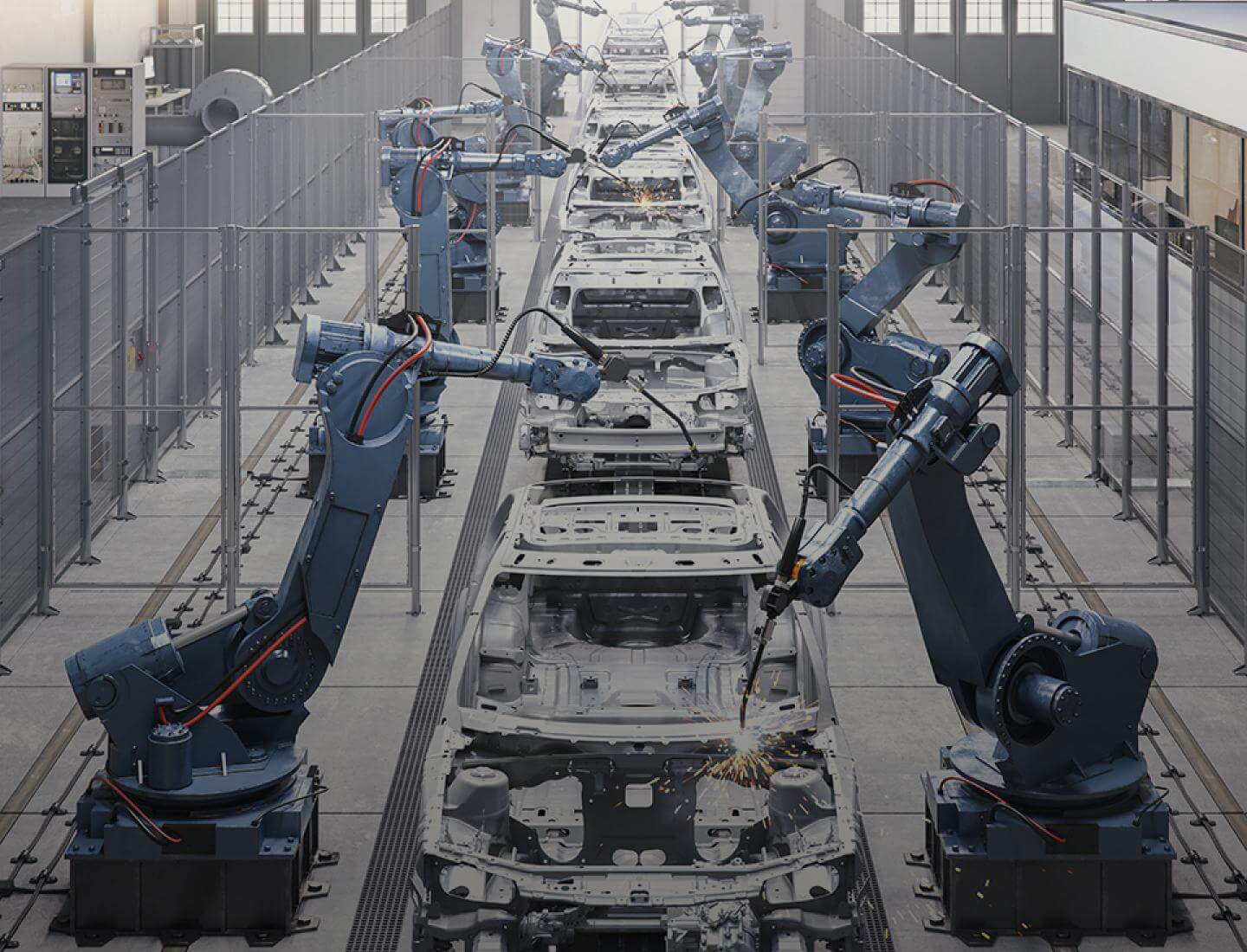 Troax machine guard at a production line with industrial robots.