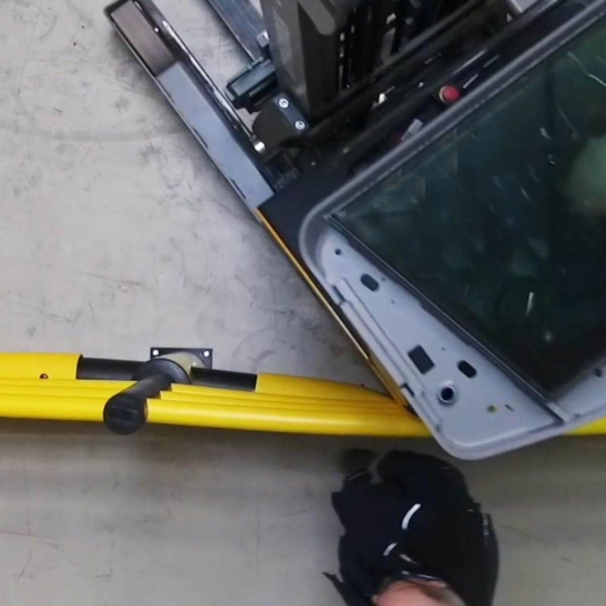 Troax Safety Barrier System protects a man from a forklift truck.